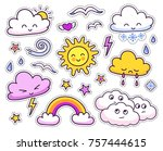 cute weather forecast.... | Shutterstock .eps vector #757444615