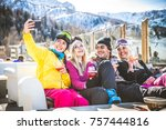 group of friends talking and... | Shutterstock . vector #757444816