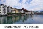 the river reuss  running... | Shutterstock . vector #757446838
