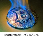 bitcoin metal silver coin is... | Shutterstock . vector #757464376