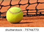 tennis ball on a tennis clay... | Shutterstock . vector #75746773