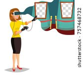 virtual reality vector. wear... | Shutterstock .eps vector #757468732