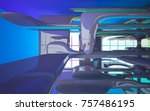 abstract dynamic interior with... | Shutterstock . vector #757486195