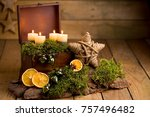 advent arrangement with candles ... | Shutterstock . vector #757496482
