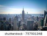 manhattan midtown skyline with... | Shutterstock . vector #757501348