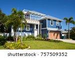 beautiful new florida house... | Shutterstock . vector #757509352