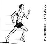 running man. black and white... | Shutterstock . vector #757515892