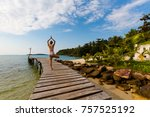 tropical summer yoga session on ... | Shutterstock . vector #757525192