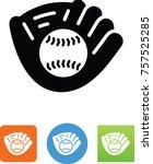 baseball in mitt icon | Shutterstock .eps vector #757525285