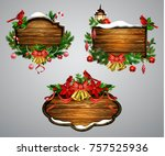 vector wooden christmas board | Shutterstock .eps vector #757525936