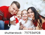 happy family at home at... | Shutterstock . vector #757536928
