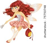 pretty red haired tooth fairy... | Shutterstock .eps vector #75753748