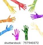silhouette of hands raised... | Shutterstock .eps vector #757540372