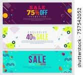memphis style banner design set ... | Shutterstock .eps vector #757542052