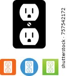 power plug socket icon | Shutterstock .eps vector #757542172