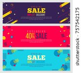 memphis style banner design set ... | Shutterstock .eps vector #757542175