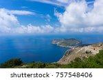 assos peninsula in kefalonia ... | Shutterstock . vector #757548406