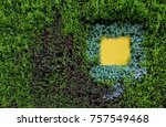 blank yellow signage on green... | Shutterstock . vector #757549468