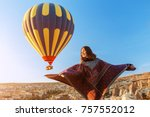 woman in traditional poncho...   Shutterstock . vector #757552012
