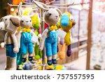 woolen handmade different toys... | Shutterstock . vector #757557595