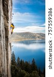 rock climbing over lake tahoe | Shutterstock . vector #757559386