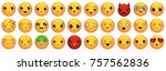 emoticons or smileys icons set... | Shutterstock .eps vector #757562836