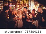 three couple with sparklers... | Shutterstock . vector #757564186