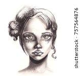pencil drawing portrait of... | Shutterstock . vector #757564876