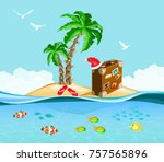 christmas on a tropical island  ... | Shutterstock .eps vector #757565896