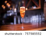 low angle close up on a glass... | Shutterstock . vector #757585552