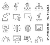 set of speaker related vector... | Shutterstock .eps vector #757595266