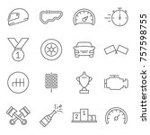 set of race related vector line ... | Shutterstock .eps vector #757598755
