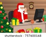 modern santa claus is working... | Shutterstock .eps vector #757600168