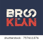 brooklyn nyc t shirt and... | Shutterstock .eps vector #757611376
