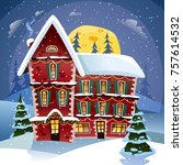 christmas night poster with... | Shutterstock . vector #757614532