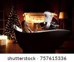 young beautiful woman lying in...   Shutterstock . vector #757615336