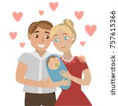family with baby | Shutterstock .eps vector #757615366