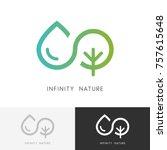 infinity nature logo   a drop... | Shutterstock .eps vector #757615648
