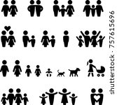 family moms dads and kids icons | Shutterstock .eps vector #757615696