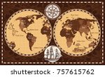 brown color retro nautical... | Shutterstock . vector #757615762