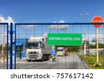 trucks pass through the... | Shutterstock . vector #757617142