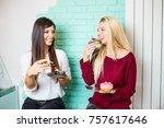 two beautiful young women...   Shutterstock . vector #757617646