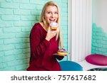 beautiful young woman enjoying...   Shutterstock . vector #757617682