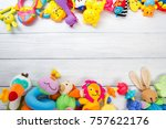 baby toys frame. copy space for ... | Shutterstock . vector #757622176