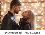 an attractive couple in love... | Shutterstock . vector #757622365