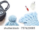 black lady bag  blue knitted... | Shutterstock . vector #757623085