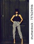 young beautiful woman in...   Shutterstock . vector #757624546