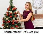 beautiful young woman...   Shutterstock . vector #757625152