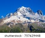 snowy mountain peak in chamonix ...   Shutterstock . vector #757629448