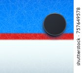 hockey puck on line | Shutterstock .eps vector #757649578